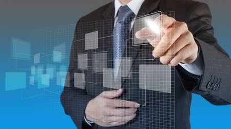 organization chart: businessman hand drawing an empty diagram Stock Photo