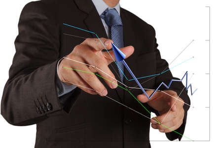 leadership training: businessman hand pushing solution graph on a touch screen interface Stock Photo