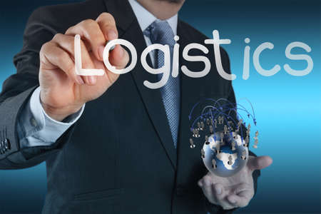 businessman hand shows logistics diagram as concept photo
