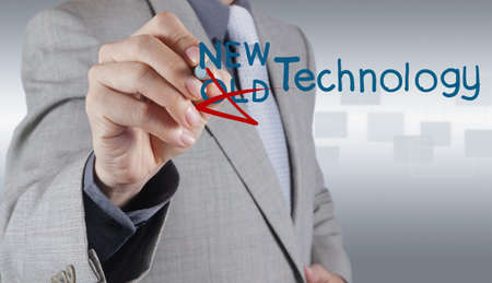 solutions freeway: businessman hand draws new technology as concept Stock Photo