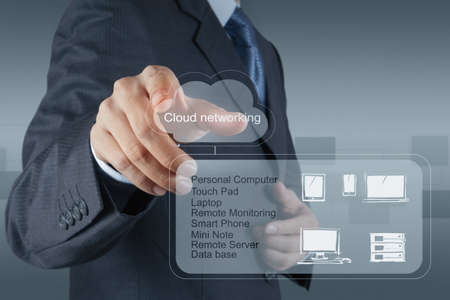 Businessman drawing a Cloud Computing diagram on the new computer interface Stock Photo - 16706522