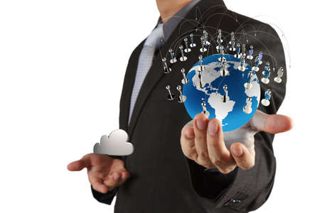 cloud search: businessman hand holds social network as concept Stock Photo