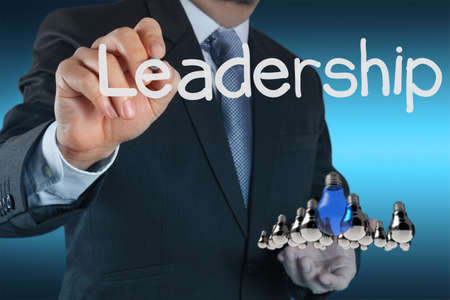businessman hand shows light as leadership concept Stock Photo - 16707048