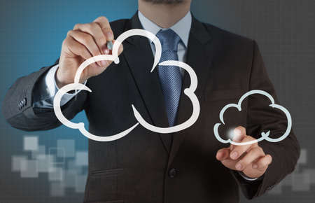 Businessman drawing a Cloud Computing diagram on the new computer interface Stock Photo - 16706500
