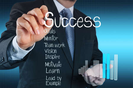 success business: businessman hand drawing a pie chart and 3d graph Stock Photo