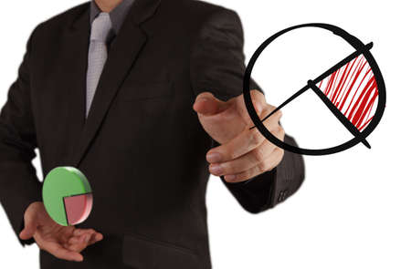 businessman hand drawing a pie chart and 3d graph Stock Photo - 16703673