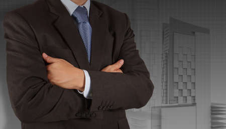 businessman draws building development concept Stock Photo - 16695302