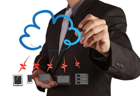 virtual server: Businessman drawing a Cloud Computing diagram on the new computer interface