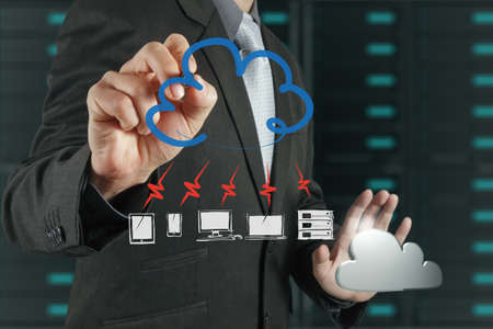 Businessman drawing a Cloud Computing diagram on the new computer interface Stock Photo - 16706499