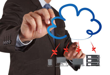 Businessman drawing a Cloud Computing diagram on the new computer interface Stock Photo - 16703851