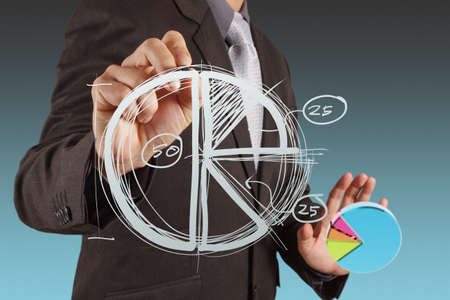 turnover: businessman hand drawing a pie chart and 3d graph Stock Photo