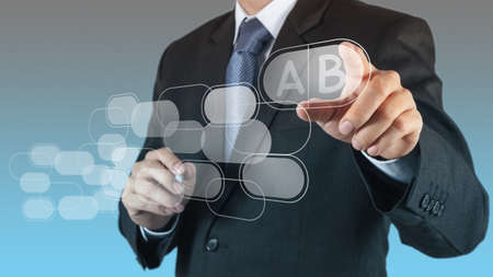 businessman hand points to business strategy as concept Stock Photo - 16707192