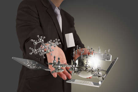 businessman shows modern technology as concept Stock Photo - 16706675