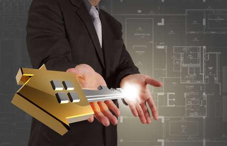 businessman draws building development concept Stock Photo - 16695294
