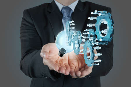businessman hand pointing to investment concept Stock Photo - 16707243