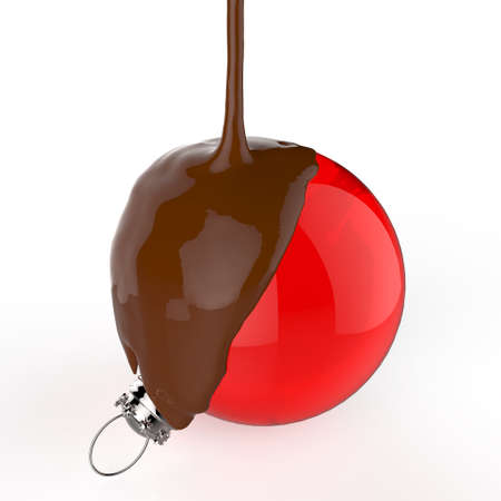 dipped: melt chocolate on Christmas ball ornament on white