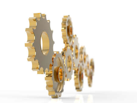 toothed: Metal polished gears. 3d image. Isolated white background.