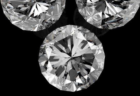diamanten op zwarte oppervlakte achtergrond Stockfoto