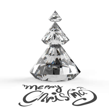 Christmas card with Diamonds Christmas tree 3d photo