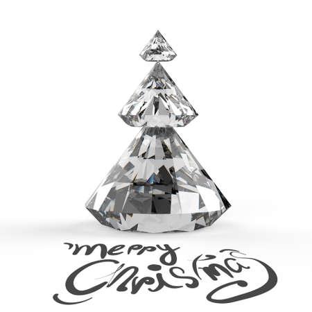 fur tree: Christmas card with Diamonds Christmas tree 3d Stock Photo