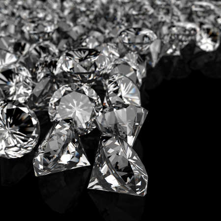 diamonds on black surface background Stock Photo - 16706520