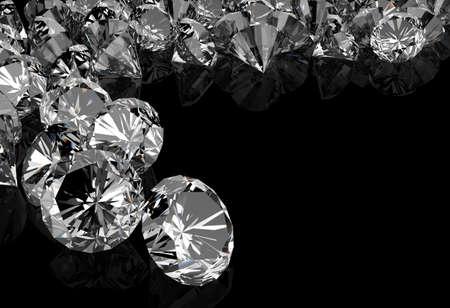 rough diamond: diamonds on black surface background