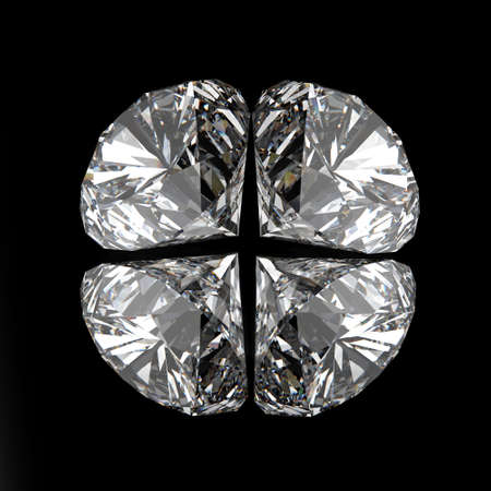 diamonds on black surface background photo