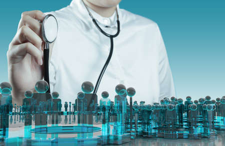 medical emergency service: Doctor hand with a stethoscope and human sign social Stock Photo