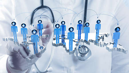 scientist doctor hand touch virtual medical network concept Stock Photo - 16704475