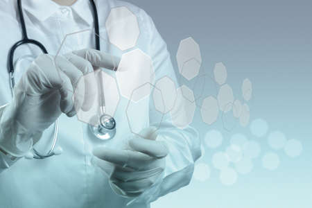 medical doctors: Medicine doctor working with modern computer interface Stock Photo