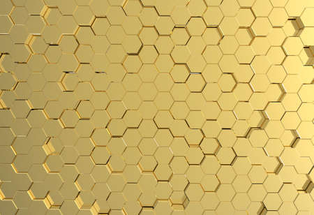 Gold pentagon metal plate background or texture photo