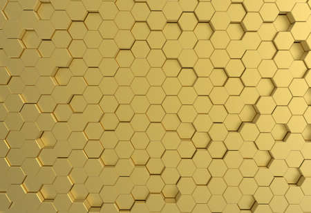 brushed aluminum: Gold pentagon metal plate background or texture