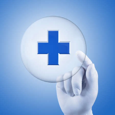scientist doctor hand touch virtual medical network concept photo