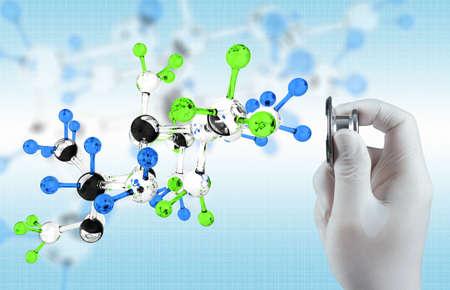 의학: 의료 개념으로 캡슐 약의 분자와 손에 청진 스톡 사진