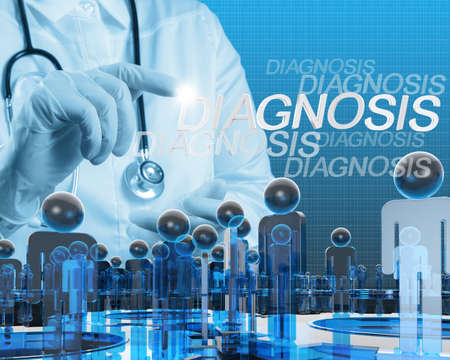 Doctor hand with a stethoscope and human sign social Stock Photo - 16706510