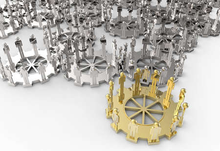 Model of 3d figures on connected cogs as leadership concept photo