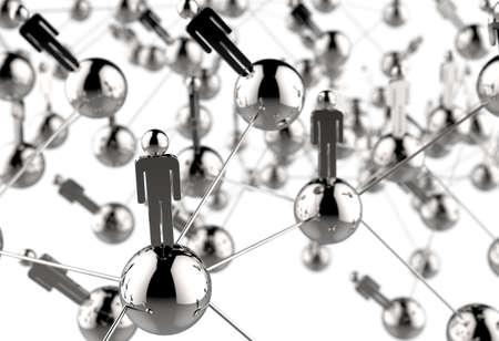 personas comunicandose: 3d inoxidable humana red social como concepto Foto de archivo