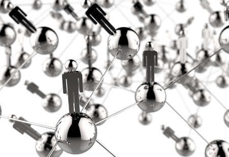social system: 3d stainless human social network as concept Stock Photo