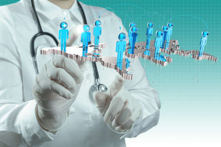 scientist doctor hand touch virtual medical network concept Stock Photo - 16713081