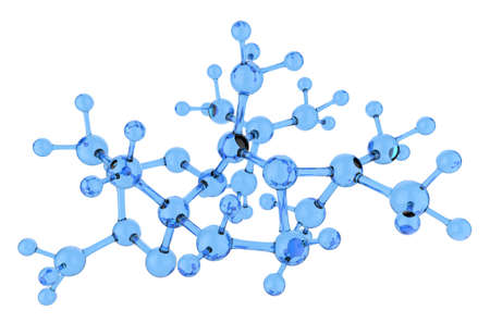 blue glass molecule 3d on white background