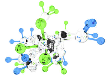 Molecule glass 3d colors on white background photo