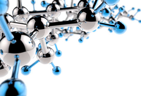 organic chemistry: molecule 3d with red green blue colors Stock Photo