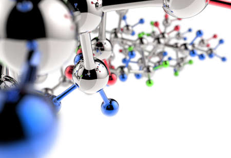 biochemistry: molecule 3d with red green blue colors Stock Photo