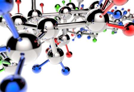 biotecnologia: molécula 3d con colores rojo azul verde