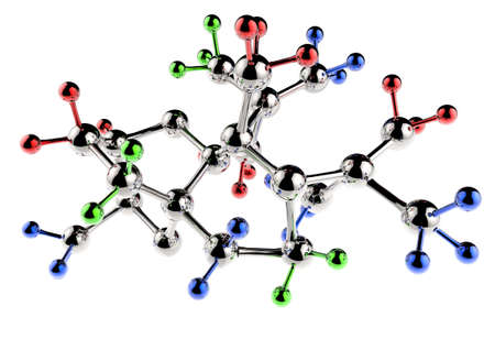 3d atom: molecule 3d with red green blue colors Stock Photo