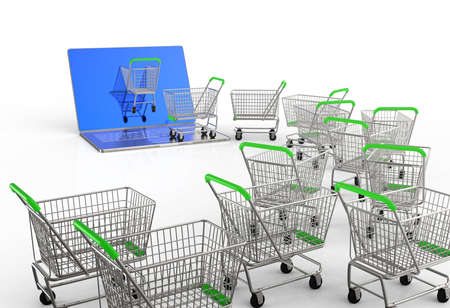 Online shopping concept 3d on white background Stock Photo - 16713244