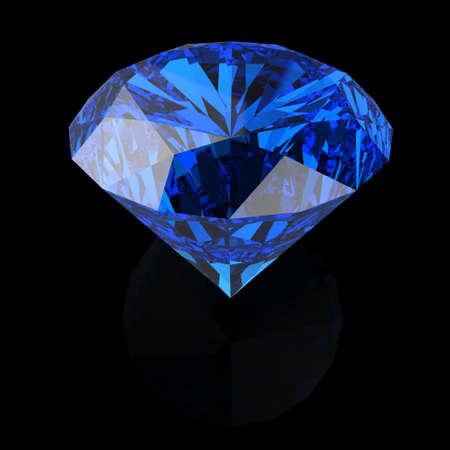 semiprecious: blue diamonds on black background Stock Photo
