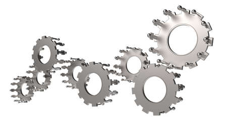 Model of 3d figures on connected cogs as industry concept Stock Photo - 16712960
