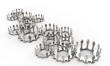 locating: Model of 3d figures on connected cogs as industry concept Stock Photo