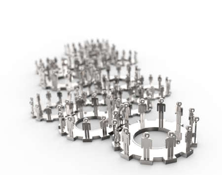 Model of 3d figures on connected cogs as industry concept Stock Photo - 16713126